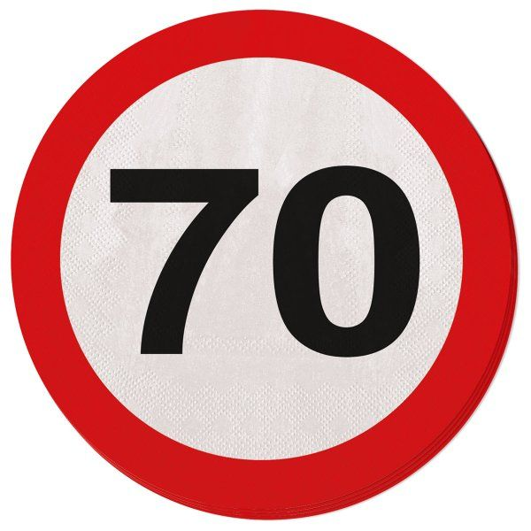 Traffic Sign 70th Party Napkins 20s Birthday Tableware Table Disposable