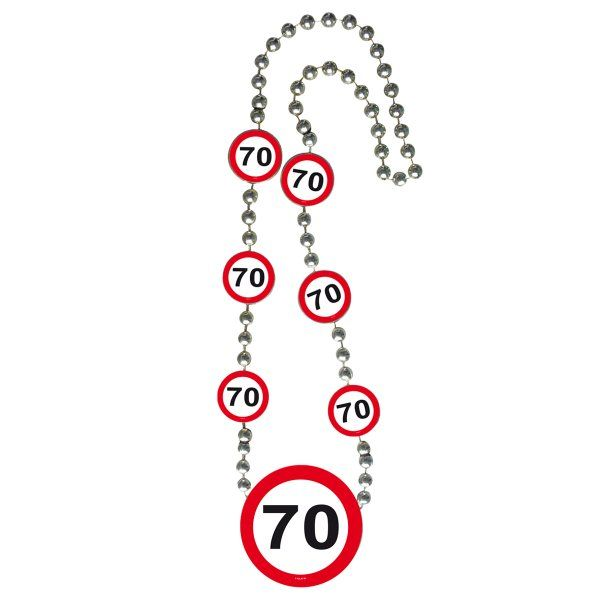 Traffic Sign 70th Party Necklace Birthday Novlety Gift Jewellery Lanyard