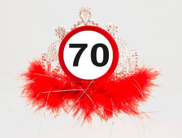 Traffic Sign 70th Party Tiara With Feathers Birthday Novelty Hat Crown Gift