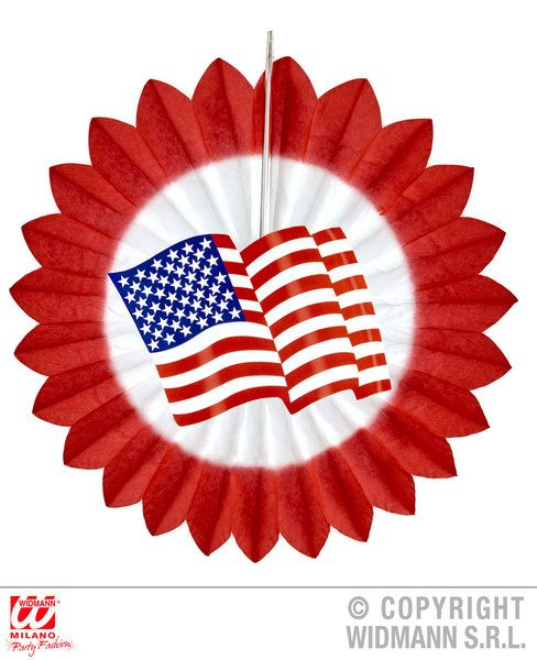 Usa Flag Paper Fan 50cm Decoration United States Of America Party