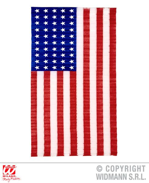 Usa Pleated Paper Flag 68 x 122cm Decoration United States Of America Party