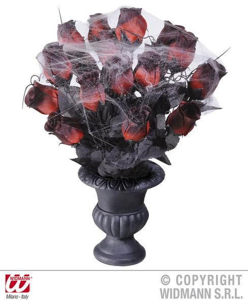 Vases 15 Red Roses & Spiderweb Decoration Halloween Trick Or Treat Spooky Party