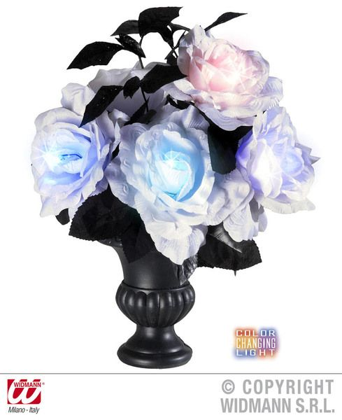 Vases With 6 Colour Change Light White Roses Party Decoration