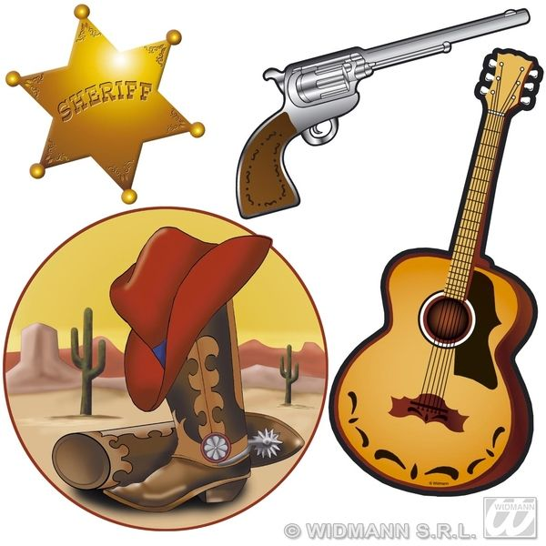 Western S 4 Pack 40cm Decoration Dallas Texas Confedirate Wild West Cowboy Party