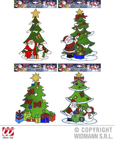 Window Stickers Christmas Tree 4 Styles Xmas Festive Seasonal Nativity Party