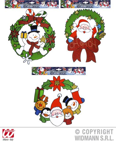 Window Stickers Christmas Wreath 3 Styles Xmas Festive Seasonal Nativity Party