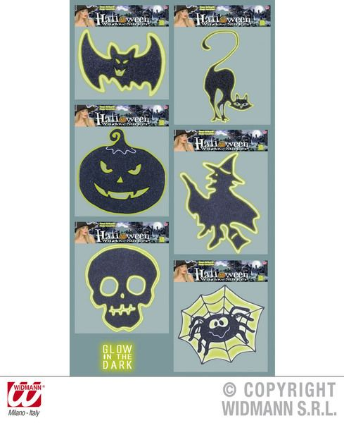 Window Stickers Gid Glitter Halloween Creepy Trick Treat Party