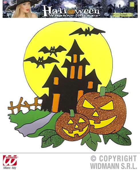 Window Stickers Haunted House W/ Pumpkins Halloween Party