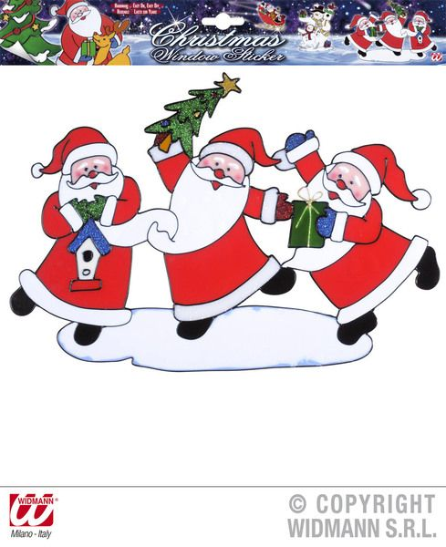 Window Stickers Horizontal Santa Claus Trio 40cm Christmas Festive Seasonal