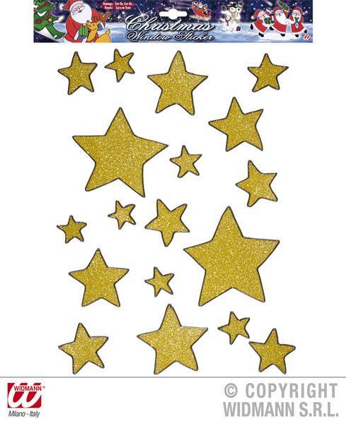 Window Stickers Set 18 Gold Glitter Stars Party