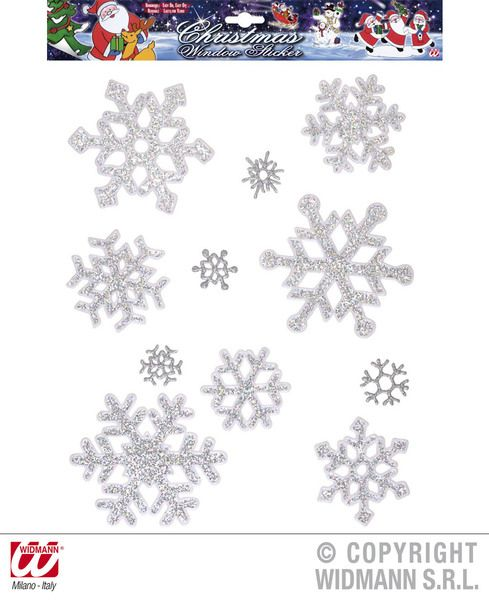 Window Stickers Set Of 11 Iridescent Snowflakes Party