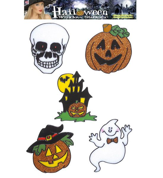 Window Stickers Set Of 5 Halloween 13cm Creepy Trick Treat Party