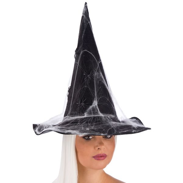 Witch Hat Black with Spiderwebs in Felt Halloween Wicked Villian Fancy Dress
